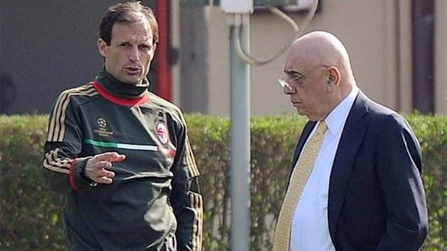 Massimiliano Allegri and AC Milan vice-president Adriano Galliani