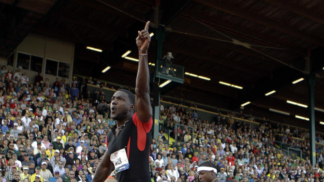 Justin Gatlin reacts after winning the men's 100m finals at the U.S. Olympic Track and Field Trials Sunday, June 24, 2012, in Eugene, Ore. (AP Photo/Matt Slocum)