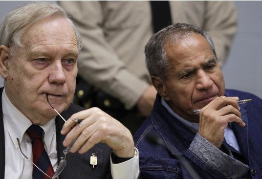 Sirhan Sirhan, now 66, convicted of assassinating Sen. Robert F. Kennedy in 1968, right, is seen beside his attorney, William Pepper, during a Board of Parole Suitability Hearing Wednesday, March 2, 2011, at the Pleasant Valley State Prison in Coalinga, Calif.  A panel of two California parole board commissioners denied parole to Sirhan. (AP Photo/Ben Margot)