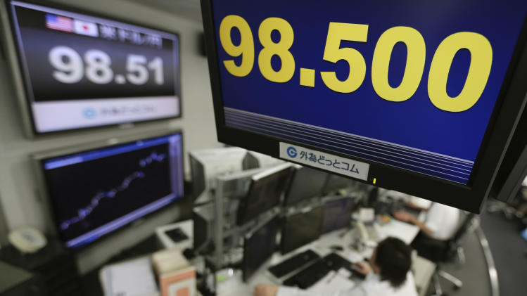 Money traders work under a screen indicating the U.S. dollar is trading at 98.500 yen at a foreign exchange company,  in Tokyo, Monday, April 8, 2013.  (AP Photo/Itsuo Inouye)