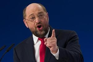 Martin Schulz, SPD top-candidate in European Parliament elections, delivers a speech at SPD extraordinary congress in Berlin