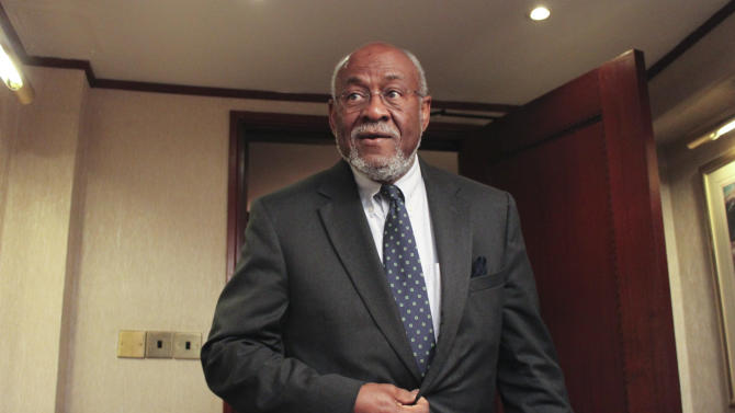 Assistant Secretary of State for African Affairs Johnnie Carson is seen at a hotel in Nairobi, Kenya Sunday, June 10, 2012 shortly after returning from a trip to Mogadishu, Somalia. The highest ranking U.S. official to visit Somalia's capital in years landed in Mogadishu on Sunday in another sign of improving security in the Horn of Africa's most chaotic nation. (AP Photo/Jason Straziuso)