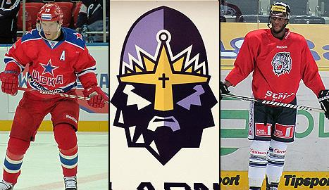 Pavel Datsyuk playing in a KHL game, HC Kladno Knights logo, and Wayne Simmonds at a Czech League practice (#NickInEurope)