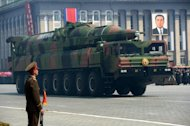 "A North Korean Taepodong class missile is displayed during a military parade to mark 100 years since the birth of the country's founder Kim Il-Sung in Pyongyang on April 15. North Korea has accused the US of building up military forces in the region and vowed to strengthen its own defences ""in every way"""