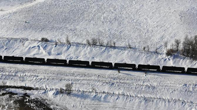 A train makes its way along the Burlington Northern Santa Fe (BNSF) rail line outside of Williston