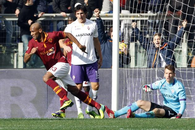 AS Roma's Maicon celebrates after scoring against Fiorentina during their Italian Serie A soccer match at the Olympic stadium in Rome