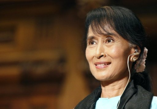 <p>Myanmar's democracy champion and Nobel Peace Prize laureate, Aung San Suu Kyi, pictured during a conference at Sorbonne University in Paris, on June 28. Hundreds of cheering supporters welcomed Suu Kyi back to Myanmar on Saturday, after her triumphant five-nation European tour.</p>