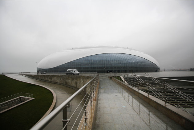 FOR STORY RUSSIA SOCHI YEAR TO GO - In this photo dated Wednesday, Jan. 30, 2013, the outside view of the Bolshoy ice dome, main ice hockey arena, at the Russian Black Sea resort of Sochi The Olympic