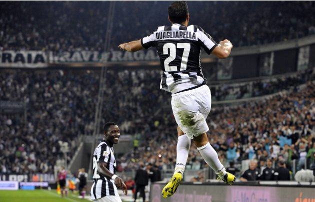 Juventus' Fabio Quagliarella celebrates after scoring against Chievo Verona during their Italian Serie A soccer match at Juventus stadium in Turin