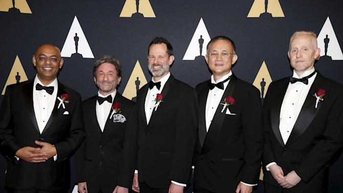 Rahul C. Thakkar, Stewart Birnam, Mark Kirk, Richard Chuang, and Andrew Pilgrim arrive at the Scientific and Technical Awards Ceremony at the Beverly Wilshire Hotel in Beverly Hills