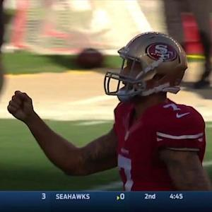 San Francisco 49ers quarterback Colin Kaepernick 35-yard pass to wide receiver Quinton Patton