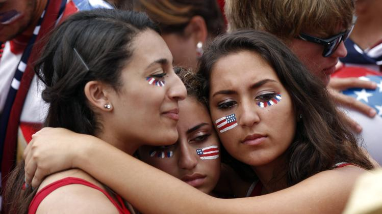 USA fans react after the U.S. was defeated by Belgium, at a viewing party in Redondo Beach