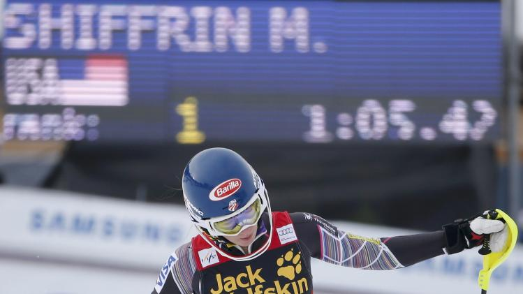 Shiffrin of the U.S. reacts in the finish area during the first run of the women's slalom at the FIS Alpine Skiing World Cup Finals in Lenzerheide
