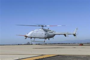 The U.S. Navy's MQ-8C unmanned helicopter completes its first day of flying at Naval Base Ventura County at Point Mugu