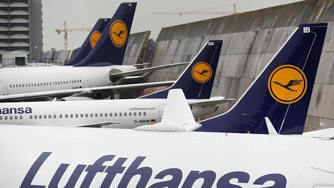 Lufthansa planes are pictured at Frankfurt Airport