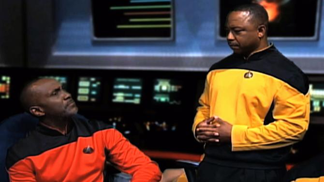 """This video image from an Internal Revenue Service video shows IRS employees portraying """"Star Trek"""" characters in a video parodying the TV show that was made for a 2010 IRS training and leadership conference. The agency says the video, filmed at an agency studio in Maryland, along with a training video that parodied the TV show """"Gilligan's Island,"""" cost about $60,000. The """"Star Trek"""" video accounted for most of the money. The IRS on Friday, March 22, 2013 said it was a mistake for employees to make the six-minute video. (AP Photo/IRS)"""