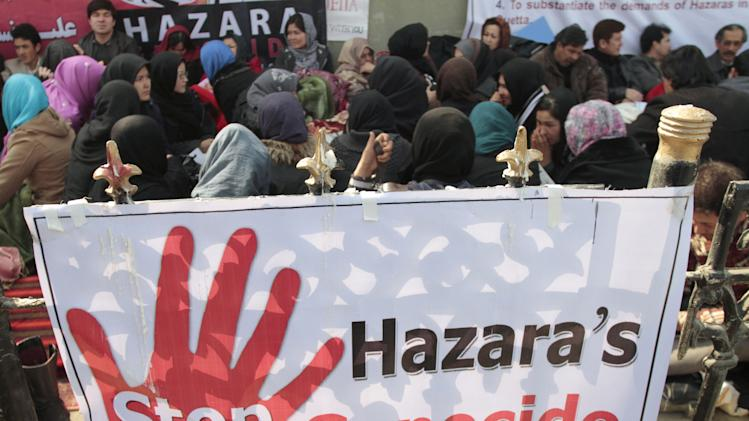 Afghan ethnic Hazaras are on a hunger strike in protest in Kabul, Afghanistan, Wednesday, Feb. 20, 2013. Dozens of Afghan ethnic Hazaras gathered near the U.N.'s main office in Kabul for a second day of a hunger strike  in reaction to  Saturday's bombing. (AP Photo/Musadeq Sadeq)
