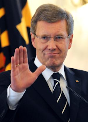 """FILE - In this Dec. 19, 2011 file picture, then German president Christian Wulff  speaks at a press conference  in Berlin. Germany's former President Christian Wulff has rejected a deal to shelve legal proceedings against him in a scandal over alleged favors that prompted his resignation. His lawyers say he'll instead fight to be cleared in court. Hannover prosecutors offered to close the case against Wulff in exchange for a fine - a common German practice. But Wulff's lawyers say he can't accept conditions. Attorney Michael Nagel said Tuesday April 9, 2013 : """"We as defense lawyers trust that at the end of these proceedings there will be a decision that will fully rehabilitate and clear President Wulff.""""  (AP Photo/dpa, Rainer Jensen,file)"""