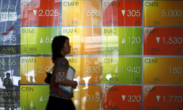 An Indonesian woman walks past an electronic stock board at the Jakarta Stock Exchange in Jakarta, Indonesia, Wednesday, Sept. 19, 2012. Asian stock markets rose Wednesday after the Bank of Japan became the latest major central bank to announce action to shore up fragile economic growth. (AP Photo/Achmad Ibrahim)
