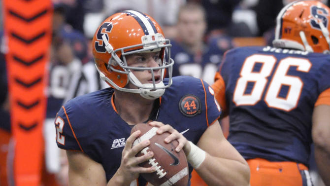 Syracuse's Ryan Nassib looks for an open receiver against Louisville during the first quarter of an NCAA college football game in Syracuse, N.Y., Saturday, Nov. 10, 2012. (AP Photo/Kevin Rivoli)