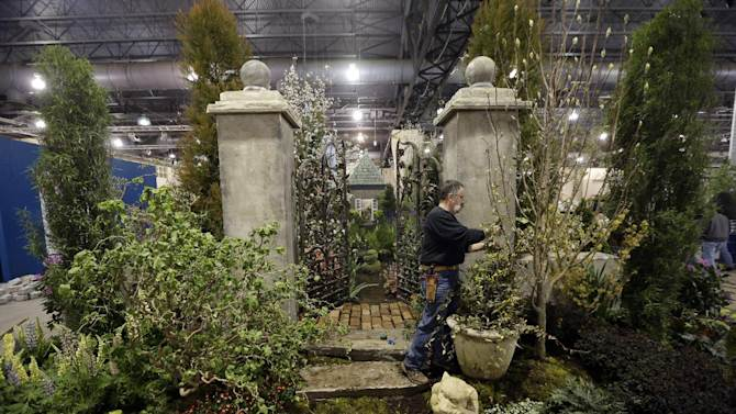 This feb. 28, 2013 photo shows Steve Eshelman with Stoney Bank Nurseries working on an installation in preparation for the annual Philadelphia Flower Show at the Pennsylvania Convention Center in Philadelphia. More than 270,000 people are expected to converge on the Pennsylvania Convention Center for the event, which runs through March 10. Billed as the world's largest indoor flower show, it's also one of the oldest, dating back to 1829. (AP Photo/Matt Rourke)