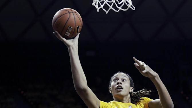 Baylor center Brittney Griner (42) shoots against Kansas State guard Chantay Caron (11) during the first half of an NCAA college basketball game Monday, March 4, 2013, in Arlington, Texas. (AP Photo/LM Otero)