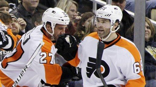 Jagr scores as Flyers beat Penguins 4-2