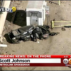 Several Injured After Train Nearly Flattens Car In Burbank