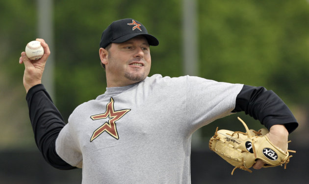 FILE - This Feb. 27, 2008 file photo shows Roger Clemens throwing a pitch during batting practice at the Houston Astros minor league spring training facility in Kissimmee, Fla. Clemens has signed with the Sugar Land Skeeters of the independent Atlantic League and is expected to start for them on Saturday at home against Bridgeport. (AP Photo/David J. Phillip, File)