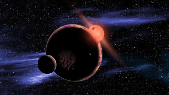 This artist's conception provided by the Harvard-Smithsonian Center for Astrophysics shows a hypothetical planet with two moons orbiting in the habitable zone of a red dwarf star. Earth-like worlds may be closer and more plentiful than anyone imagined. Astronomers reported Wednesday, Feb. 6, 2013 that the closest Earth-like planet may be just 13 light years away. That planet hasn't been found yet, but should be there based on the team's study of red dwarf stars which are the most common stars in our galaxy. (AP Photo/Harvard-Smithsonian Center for Astrophysics, David A. Aguilar)