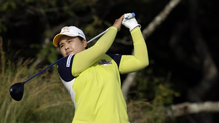 Inbee Park, of South Korea, tees off on the 13th hole during the first round of the U.S. Women's Open golf tournament at the Sebonack Golf Club Thursday, June 27, 2013, in Southampton, N.Y. (AP Photo/Frank Franklin II)