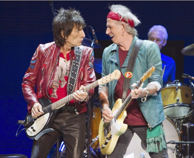 Keith Richards and Ron Wood of the Rolling Stones perform in Toronto