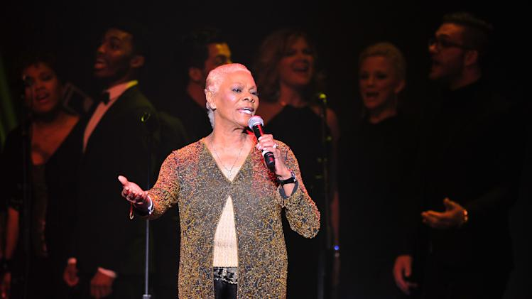 "Singer Dionne Warwick performs at ""Play It Forward: A Celebration of Music's Evolution and Influencers"" at the Grammy Foundation's 15th Annual Music Preservation Project, Thursday, Feb. 7, 2013, in Los Angeles. (Photo by Vince Bucci/Invision/AP)"