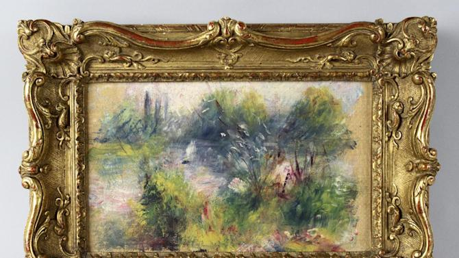 "This undated image provided by the Potomack Company shows an apparently original painting by French impressionist Pierre-Auguste Renoir that was acquired by a woman from Virginia who stopped at a flea market in West Virginia and paid $7 for a box of trinkets that included the painting. An auction house has put on hold the sale of a painting believed to be by French impressionist Pierre-Auguste Renoir that a woman bought at a West Virginia flea market because a reporter found evidence someone stole the painting from the Baltimore Museum of Art.  A Washington Post reporter discovered documents in the museum's library showing the painting was there from 1937 until 1949. Museum officials then found paperwork showing the painting, ""Paysage Bords de Seine,"" was stolen in 1951.   (AP Photo/Potomack Company)"