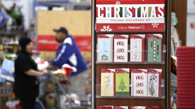 A Christmas card display is pictured at Walmart as the store prepares for Black Friday in Los Angeles