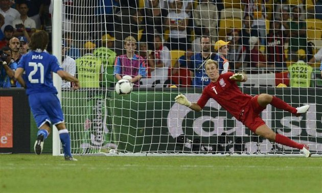 Italy's Pirlo scores a goal past England's goalkeeper Hart during the penalty shoot-out of their Euro 2012 quarter-final soccer match at Olympic Stadium in Kiev