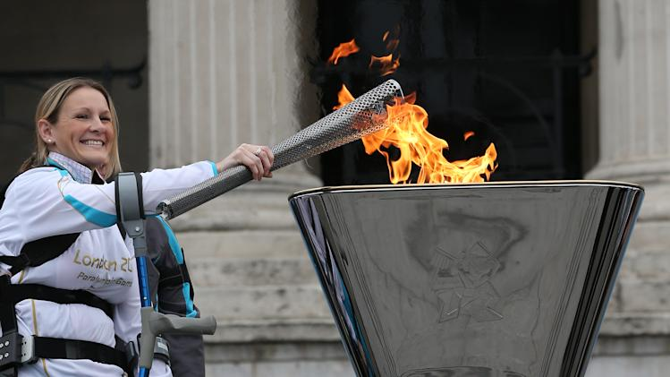 A Celebratory Cauldron Is Lit In Trafalgar Square Ahead Of The Paralympic Games