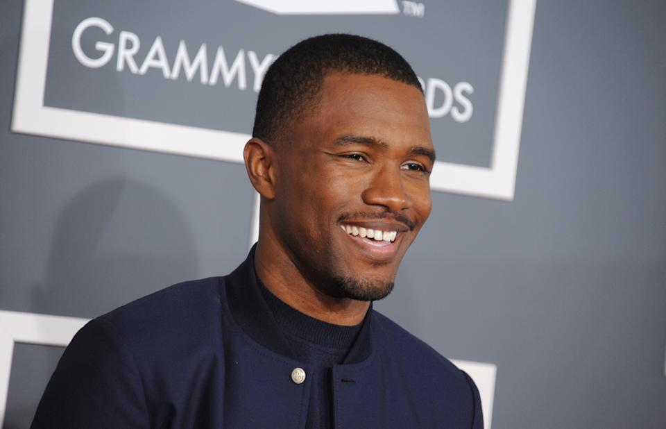 Frank Ocean arrives at the 55th annual Grammy Awards on Sunday, Feb. 10, 2013, in Los Angeles.  (Photo by Jordan Strauss/Invision/AP)