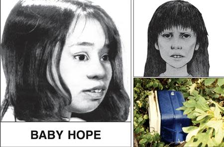 "NYPD poster shows artist renderings of four-year-old Castillo, dubbed ""Baby Hope"", whose body was found in a picnic cooler along Henry Hudson Highway in northern Manhattan"