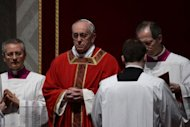Pope Francis leads the Celebration of the Lord's Passion on Good Friday, March 29, 2013 at St Peter's Basilica at the Vatican