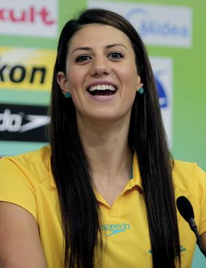 Australian swimmer Stephanie Rice answers a question during a press conference at the FINA 2011 Swimming World Championships in Shanghai, China, Friday, July 22, 2011. (AP Photo/Mark Baker)