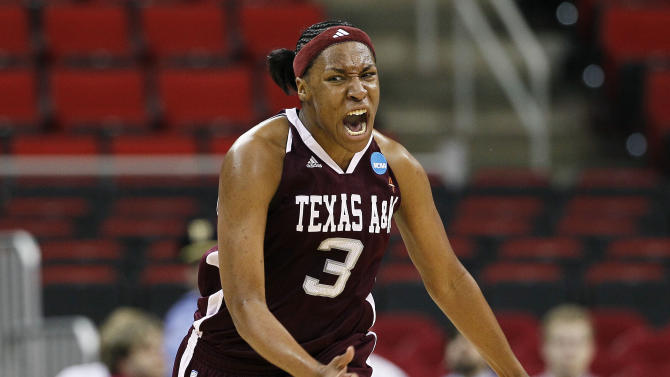 Texas A&M's Kelsey Bone (3) reacts following her basket against Maryland during the first half of an NCAA college women's tournament regional semifinal basketball game in Raleigh, N.C., Sunday, March 25, 2012. Maryland won 81-74. (AP Photo/Gerry Broome)