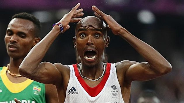 Britain&#39;s Mo Farah reacts as he wins the men&#39;s 5000m final (Reuters)
