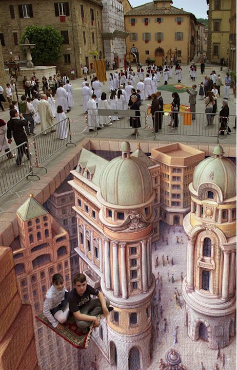 &amp;#39;The Flying Carpet&amp;#39; by Kurt Wenner - Kids, please don&amp;#39;t do that at home!!