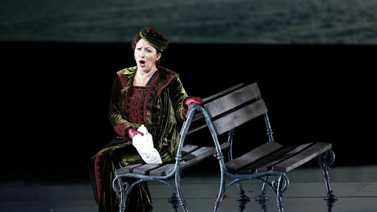 Singer Krassimira Stoyanova as Die Feldmarschallin Fürstin Werdenberg performs on stage during a dress rehearsal of Richard Strauss' opera 'Der Rosenkavalier' in Salzburg