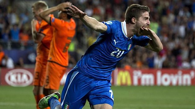 Italy's forward Fabio Borini celebrates after scoring a goal against Netherlands during their 2013 UEFA U-21 Championship semi-final (AFP)