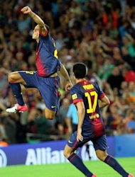 Barcelona's Adriano Correia celebrates scoring a goal during their Spanish La Liga match vs Valencia, on September 2, at Camp Nou stadium in Barcelona. Barca go to a Getafe side next, on Saturday