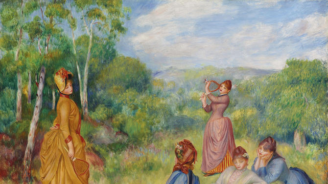 """In this image provided by Christie's auction house, Friday, Jan. 31, 2014 is """"Young Women Playing Badminton"""" by French impressionist painter Pierre-Auguste Renoir. It is part of the Huguette Clark collection that is scheduled to be offered at auction May 6 in New York. (AP Photo/Christie's)"""