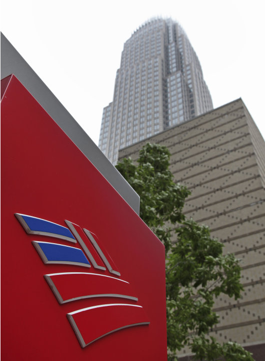 FILE -- An April 19, 2012 file photo shows Bank of America's corporate headquarters  in Charlotte, N.C.  Moody's Investors Service Thursday June 21, 2012 has lowered the credit ratings on some of the