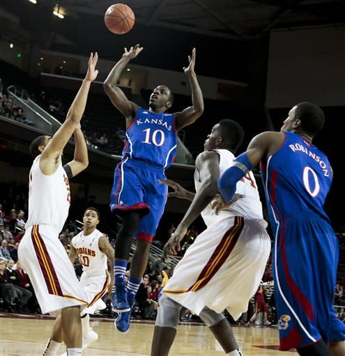 Johnson, Teahan lead No. 12 Kansas over USC 63-47